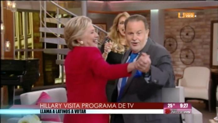 Hillary busca conquistar el voto latino. Ayer estuvo con El Gordo y La Flaca
