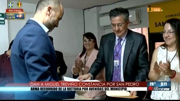 Entregan constancia de mayoría a @miguelbtrevino. Ya es Alcalde Electo de San Pedro Garza García