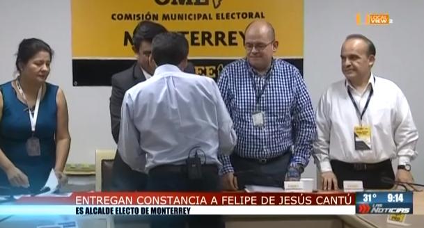 Felipe de Jesús Cantu ya es Alcalde Electo de Monterrey. Adrián de la Garza impugnará