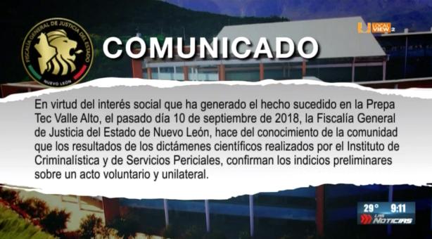 La Fiscalía General de NL informa sobre el caso de la Prepa Tec Valle Alto