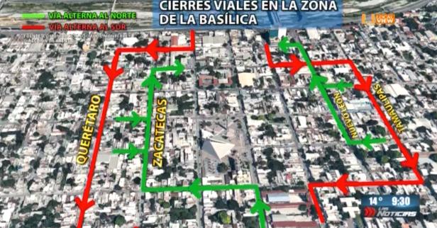 A partir de hoy habrá cierres a la circulación en los alrededores de la Basílica de Guadalupe en Monterrey
