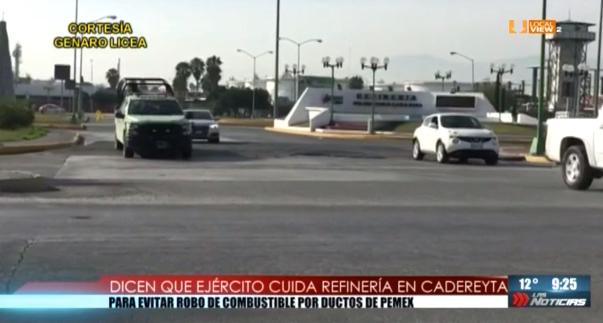 Elementos del Ejército Mexicano resguardan la refinería de Cadereyta